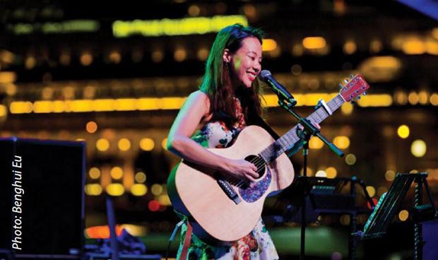 Steph launching her original music album at the Esplanade Outdoor Theatre in August 2020