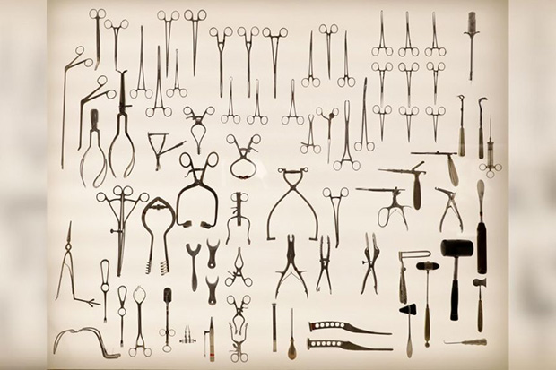 The collection includes obstetric delivery forceps used by doctors, self-retaining retractors, bone-nibbler clamps, mallots, curettes, bone hooks, osteotome, rongeurs, and a little axe saw used to cut parts of the skull. Some of these surgical instruments were used in ground-breaking procedures by doctors at Singapore General Hospital to preserve organs or limbs and save lives. Today, they have been replaced by new and more effective instruments. ST PHOTO NEO XIAOBI