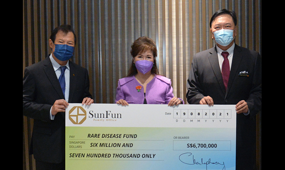 L-R positions Tan Sri Datuk Dr Chen Lip Keong, Founder and Controlling Shareholder of Sun Fun Family Office Pte Ltd; Mrs Laura Hwang, Chairperson of Rare Disease Fund Committee; and Professor Alex Sia, CEO of KK Women's and Children's Hospital